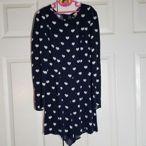 2 for $25 Divided by H&M 4 Heart Print Navy Romper